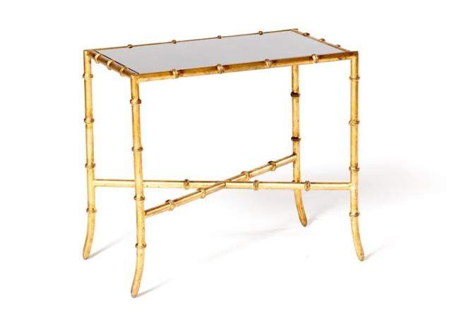 Where to find GOLD BAMBOO END TABLE, BLACK GLASS TOP in Charleston