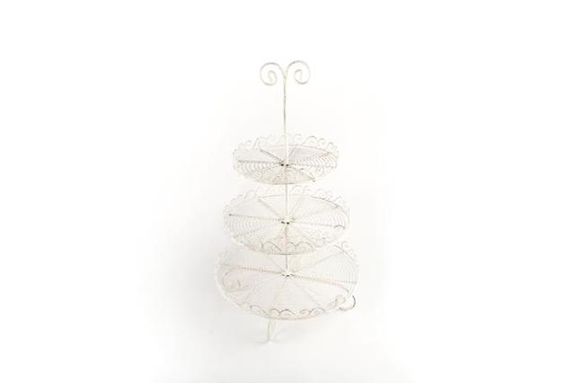 Where to find ANTIQUE WHITE 3 TIER WIRE SERVING TRAY in Charleston