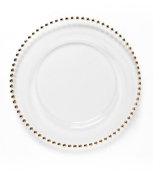 Where to find GLASS GOLD BEADED RIM 13  CHARGER in Charleston
